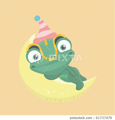Cute chameleon on pastel background.. 61737876