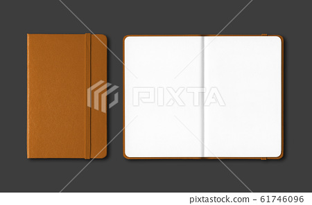 Leather closed and open notebooks isolated on 61746096