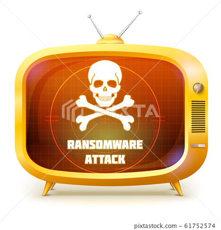 Yellow retro TV with alert about ransomware attack 61752574