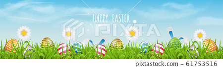 Colorful Easter eggs  line pattern  and spring flowers in grass with beautiful sky. Happy Easter vector background or banner. 61753516