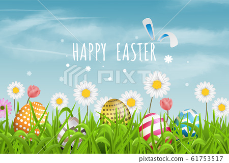 Colorful Easter eggs  line pattern  and spring flowers in grass with beautiful sky. Happy Easter vector background or banner. 61753517