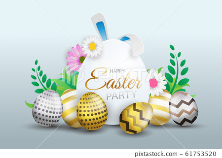 Happy Easter decoration background, colorful eggs with sign, flowers and text. Vector illustration. 61753520