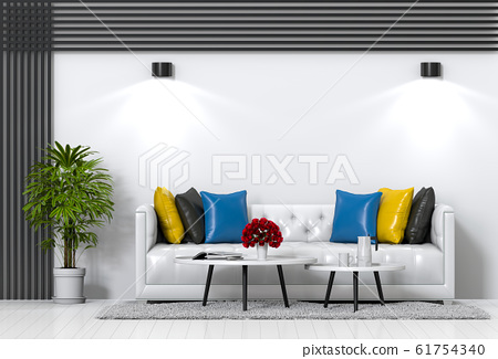 interior modern living room with sofa,  plant, lamp, decoration, 3D render 61754340