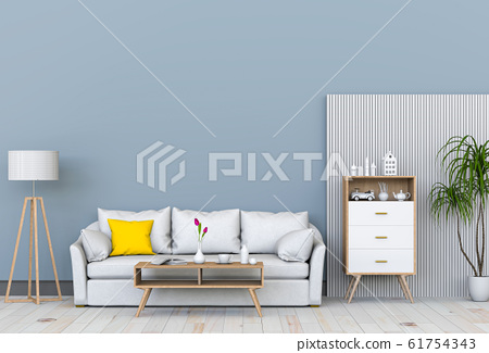 interior modern living room with sofa,  plant, lamp, decoration, 3D render 61754343