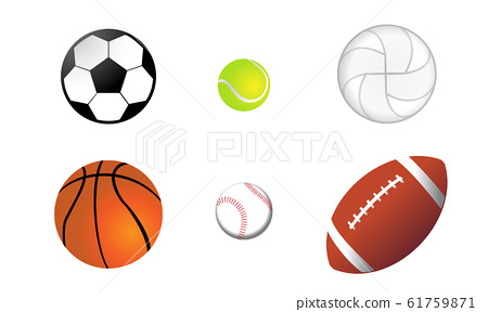 Various types of ball illustration set