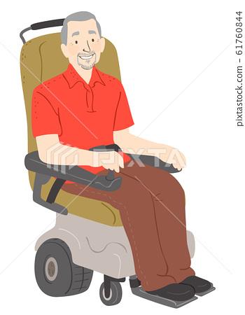 Senior Man Electric Wheelchair Illustration 61760844