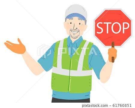 Senior Man Crossing Guard Illustration 61760851