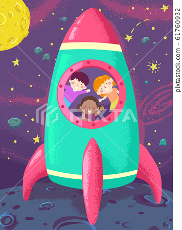 Kids Space Ship Launch Illustration 61760932