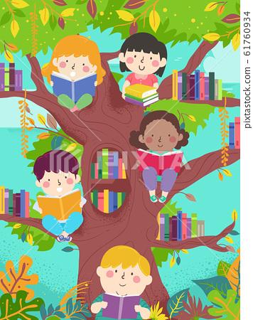 Kids Read Tree Library Illustration 61760934
