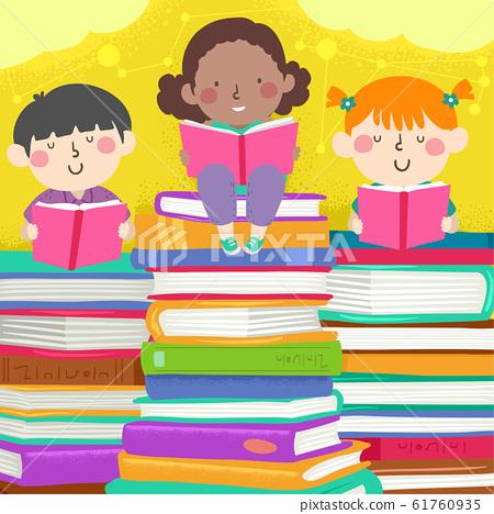 Kids Read Pile Books Illustration 61760935