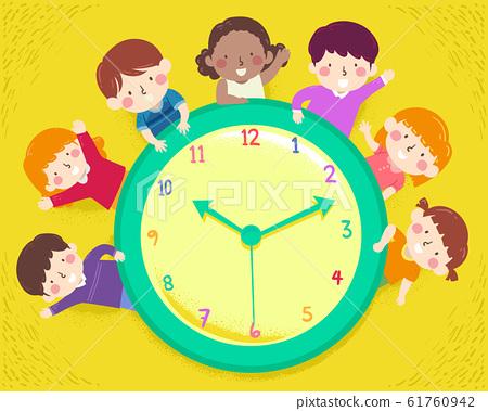 Kids Happy Clock Illustration 61760942