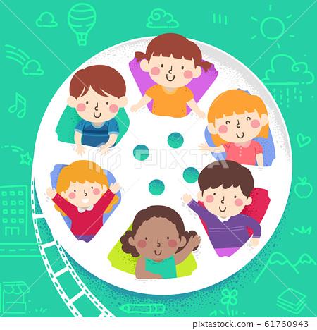 Kids Film Reel Peek Illustration 61760943