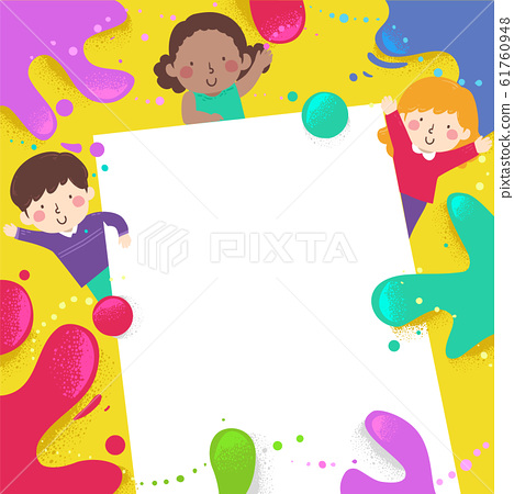 Kids Color Splats Paper  Background Illustration 61760948