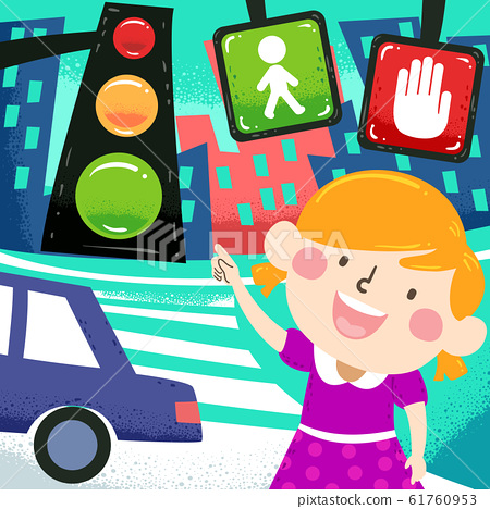 Kid Girl Traffic Signs Dangers Awareness 61760953