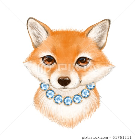 Cute cartoon fox with necklace 61761211