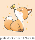 Cute fox and butterfly cartoon hand drawn style 61762934