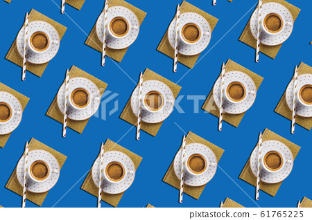 Cup of espresso coffee flat lay pattern on classic blue 61765225