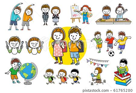 인물 세트 : 아이, 형제, 초등학생 컬렉션 61765280