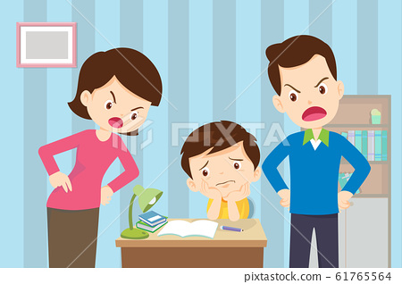 Angry mother and father to son so bad education 61765564