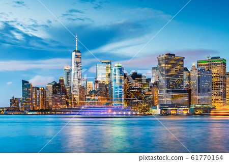 New York City Financial District Skyline on the Harbor 61770164