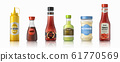 Sauce bottles. Ketchup mayonnaise and mustard realistic containers, hot chilli and soy sauces. Vector plastic and glass packaging 61770569
