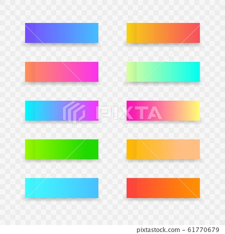 Colorful post note stickers. Sticky note template with gradient on transparent background. Vector sticky tapes with shadow 61770679