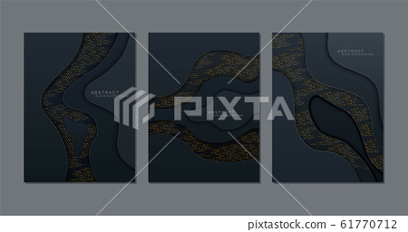 Black background. Abstract realistic papercut 61770712