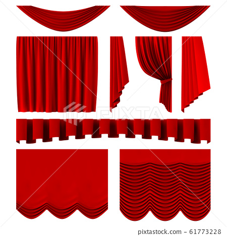 Red stage curtains. Realistic theater stage decoration, dramatic red luxurious curtains. Scarlet silk velvet curtains vector illustration set 61773228