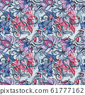 Hand Drawn seamless pattern of Abstract Flowers 61777162