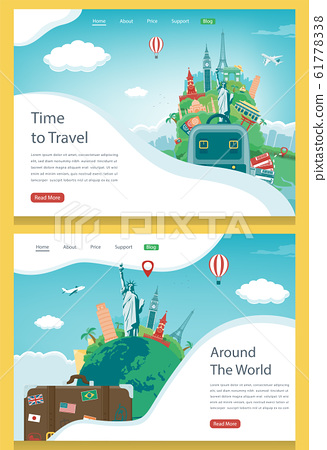 Travel composition with famous world landmarks. Travel and Tourism. Concept website template. Vector 61778338