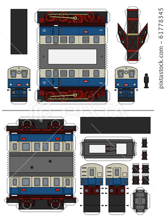 The paper model of an old electric passenger train 61778345