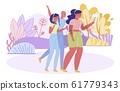 Vector Illustration, Body Positive Girls in Park. 61779343