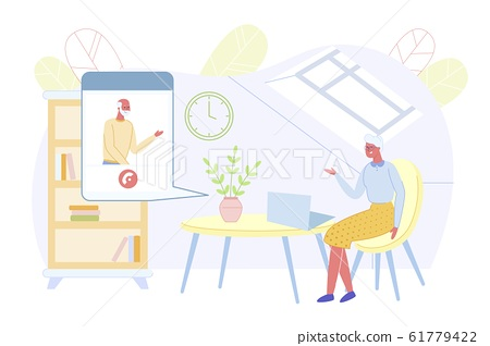 Grandmother Talk with Grandfather Using Laptop 61779422