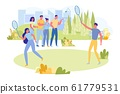 Couple Play Badminton with Rackets on Fresh Air. 61779531
