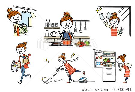 人稱:家庭主婦,家務勞動,生活方式 61780991