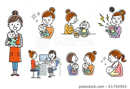 인물 세트 : 육아, 육아, 부모와 자식 61780993