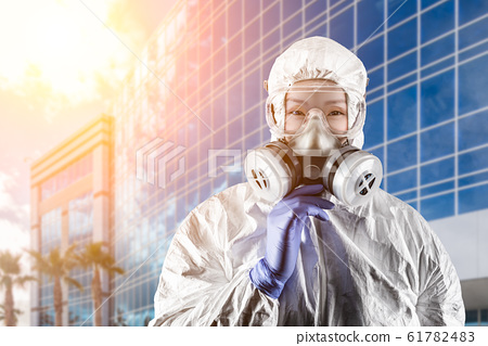 Chinese Woman Wearing Hazmat Suit, Protective Gas 61782483