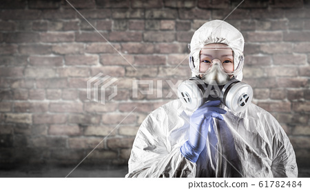 Chinese Woman Wearing Hazmat Suit, Protective Gas 61782484