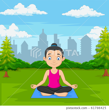 Young woman doing meditation in green city park 61786425