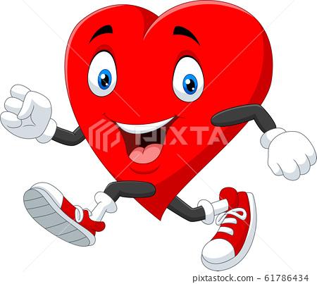 Cartoon heart running to keep healthy 61786434