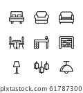 Basic Furniture icon set in thin line style. icons 61787300