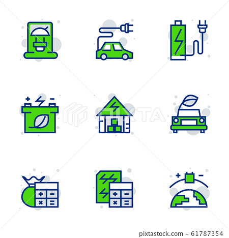 Green energy icon set suitable for info graphics, 61787354