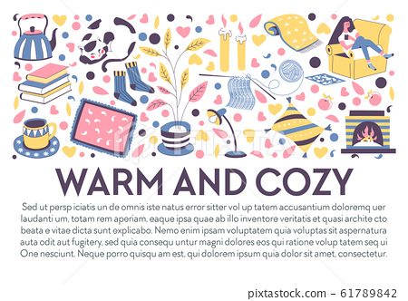 Winter evening at home, cozy and warm house items banner 61789842