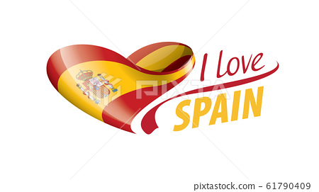 National flag of the Spain in the shape of a heart and the inscription I love Spain. Vector illustration 61790409
