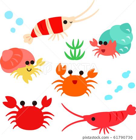 可愛的蝦,蟹和寄居蟹角色 61790730