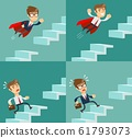 The businessman running up the stairs. Symbol of ambition, motivation, success in career, promotion 61793073