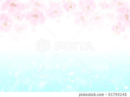 벚꽃 반짝이 배경 아래 파란색 61793248