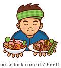 Cute cartoon Thai man serving Pad Thai and Tom Yum Soup, Vector Illustration 61796601
