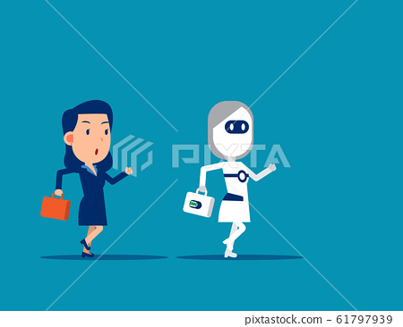 Human vs Robot. Business competing with artificial 61797939