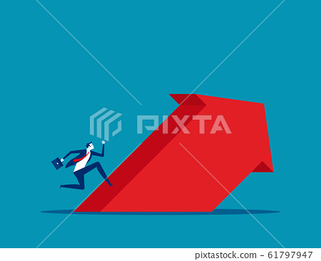 Businessman run up to the arrow. Concept business 61797947